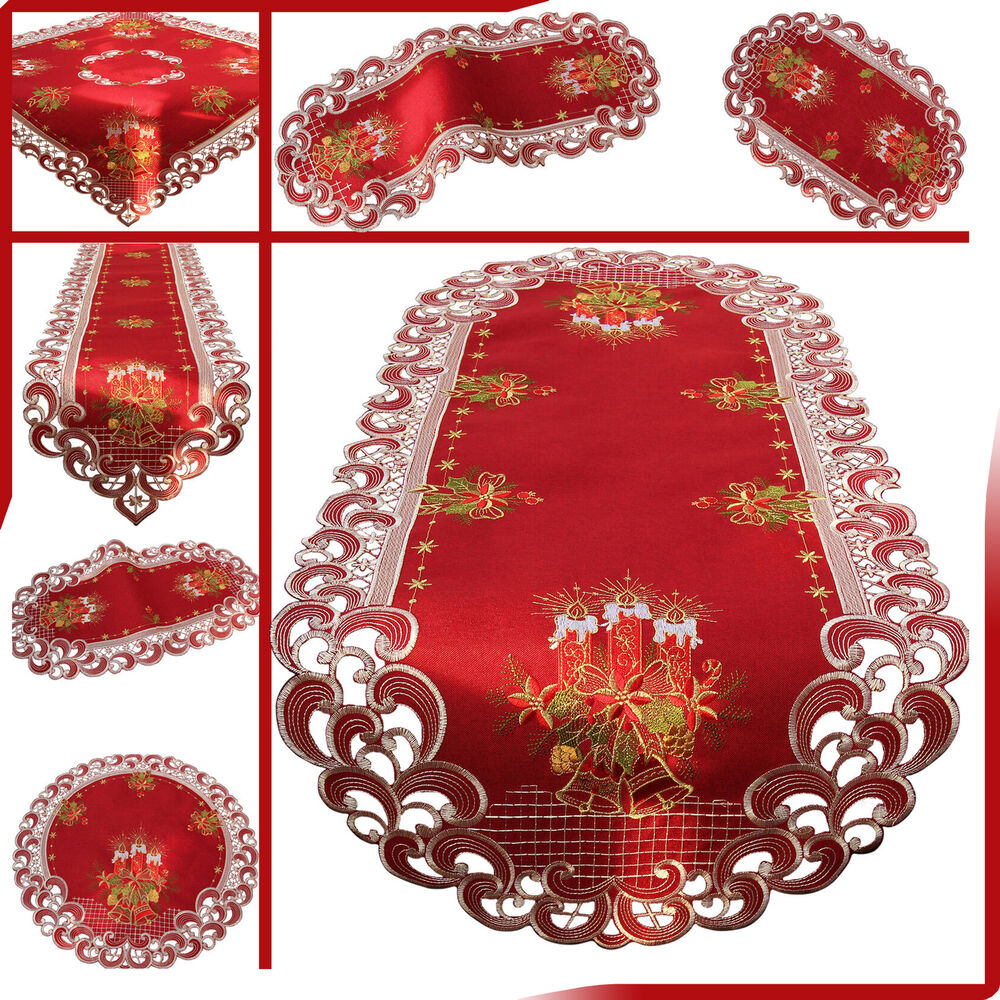 dark red embroidered christmas table cloth table runner. Black Bedroom Furniture Sets. Home Design Ideas