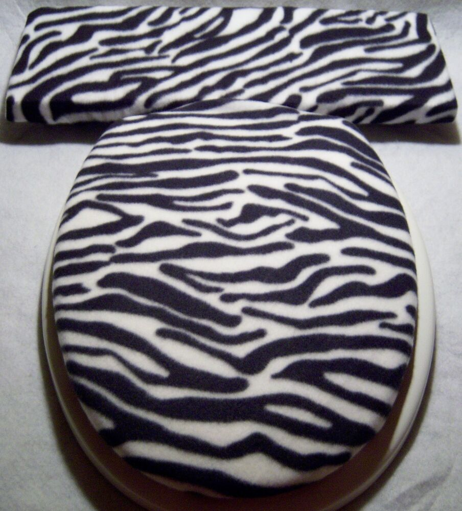 ZEBRA Black White Stripe Fleece Elongated Toilet Seat Lid And Tank Lid Cover