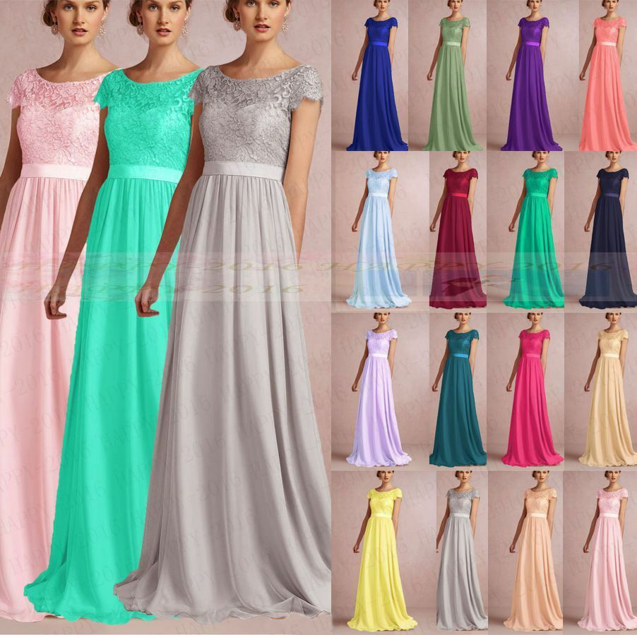 Floor length formal evening dress bridesmaid dresses for Ebay wedding dresses size 18 uk