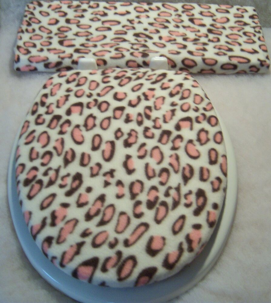 LEOPARD Pink Brown Fleece Elongated Toilet Seat Lid And Tank Lid Cover Set