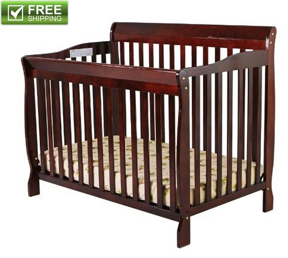 5 Cool Cribs That Convert To Full Beds: CONVERTIBLE BABY BED 5-in-1 FULL SIZE CRIB CHERRY NURSERY