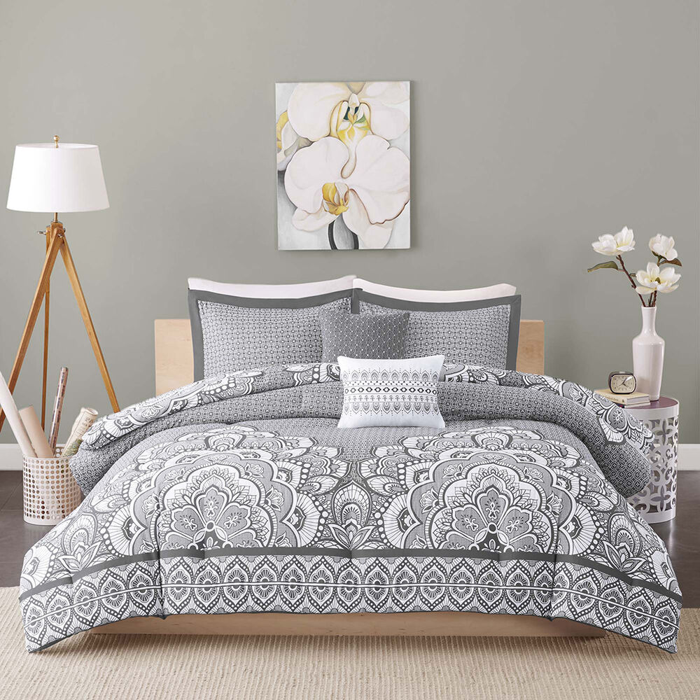 gray bed sets beautiful modern chic grey white bohemian global 11714