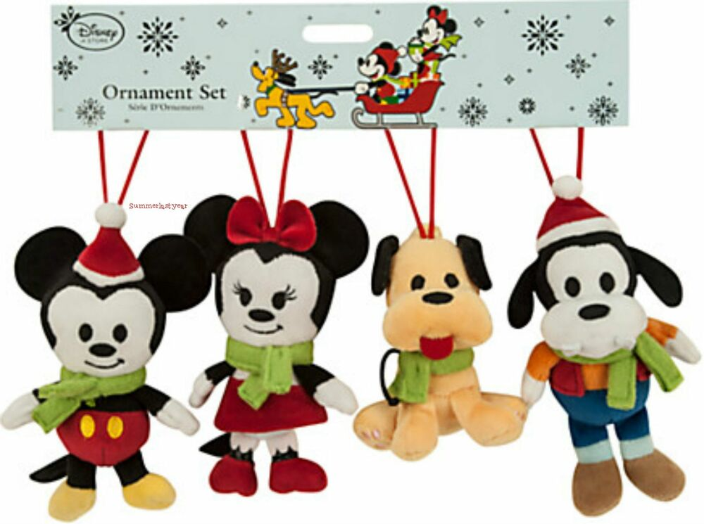 Mickey mouse and friends plush ornament set disney store free shiping ebay - Disney store mickey mouse ...