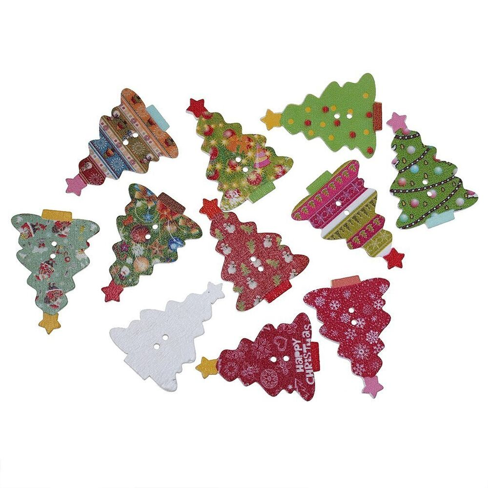 Button Christmas Trees: 50 X 35mm Wooden Christmas Tree Buttons