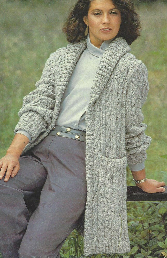 Ladies Cable Long Jacket Knitting Pattern with Shawl Collar DK 30-40