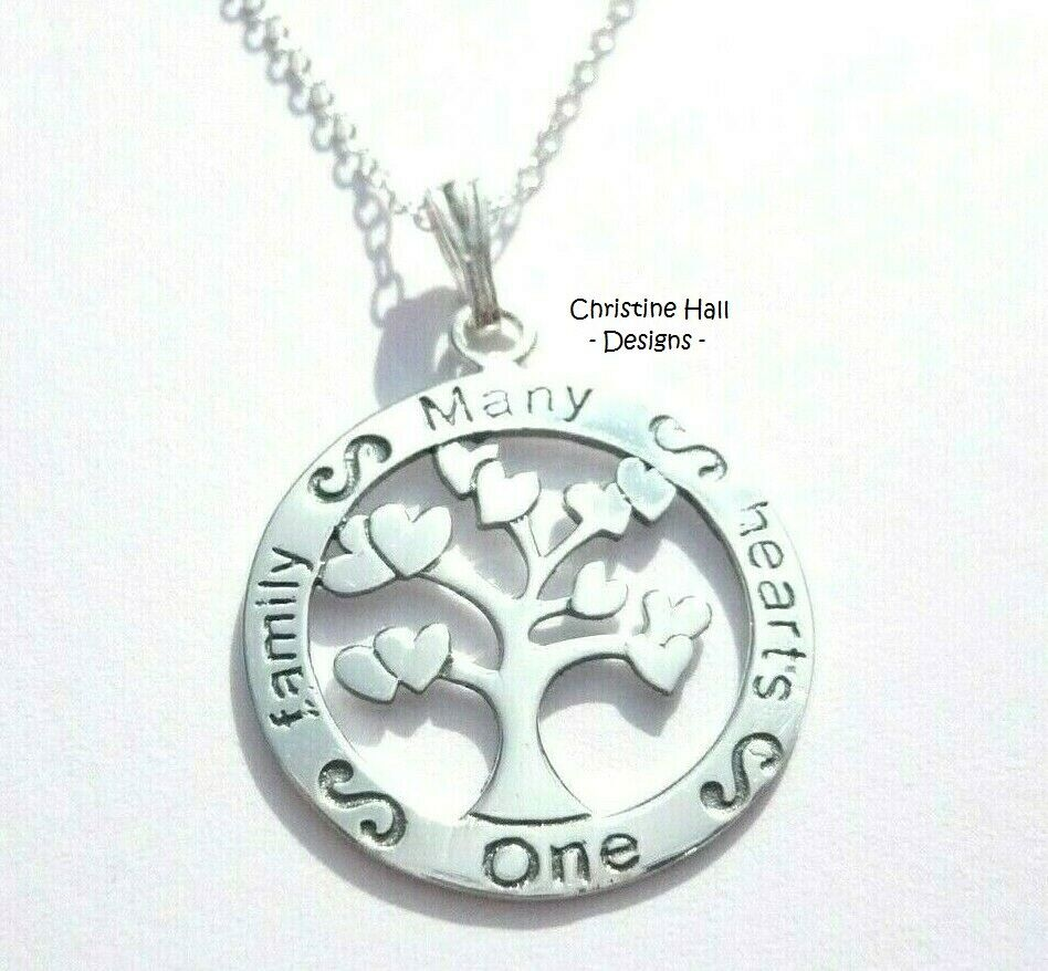 Sterling Silver TREE OF LIFE ONE FAMILY MANY HEARTS ...