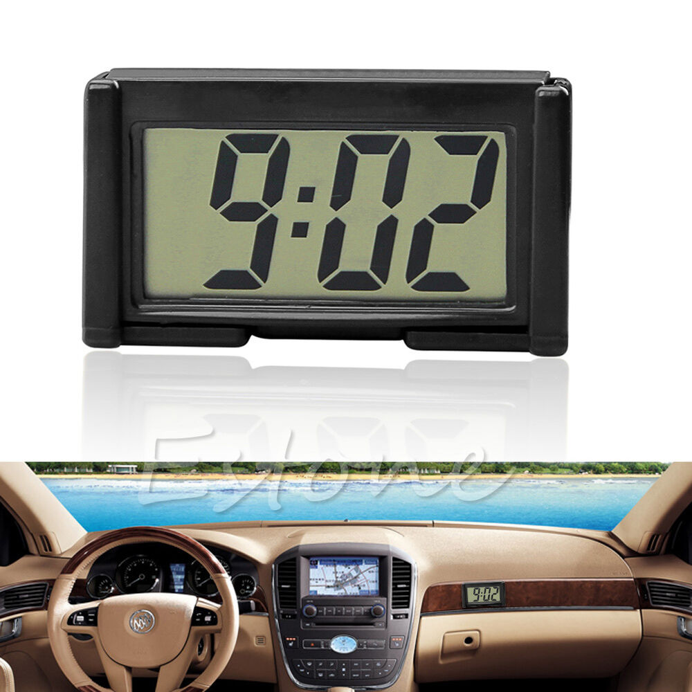 car auto interior dashboard desk lcd screen digital clock self adhesive bracket ebay. Black Bedroom Furniture Sets. Home Design Ideas