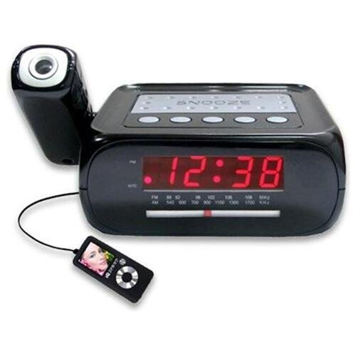led digital projection alarm clock with am fm radio music sleep snooze timers 639131003712 ebay. Black Bedroom Furniture Sets. Home Design Ideas