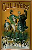 Gullivers Scotch & Irish Whisky Peg Blechschild 3D geprägt Tin Sign 20 x 30 cm