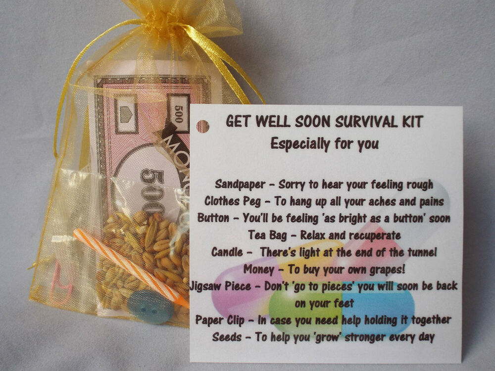 Get well soon novelty survival kit gift keepsake fun for Unusual get well gifts