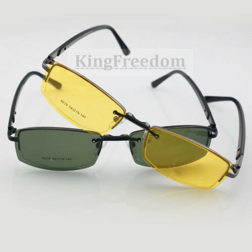 Eyeglass Frame With Clip On Sunglasses : Eyeglass Frame With 2 Gray & Yellow sunglasses Clip-on Rx ...