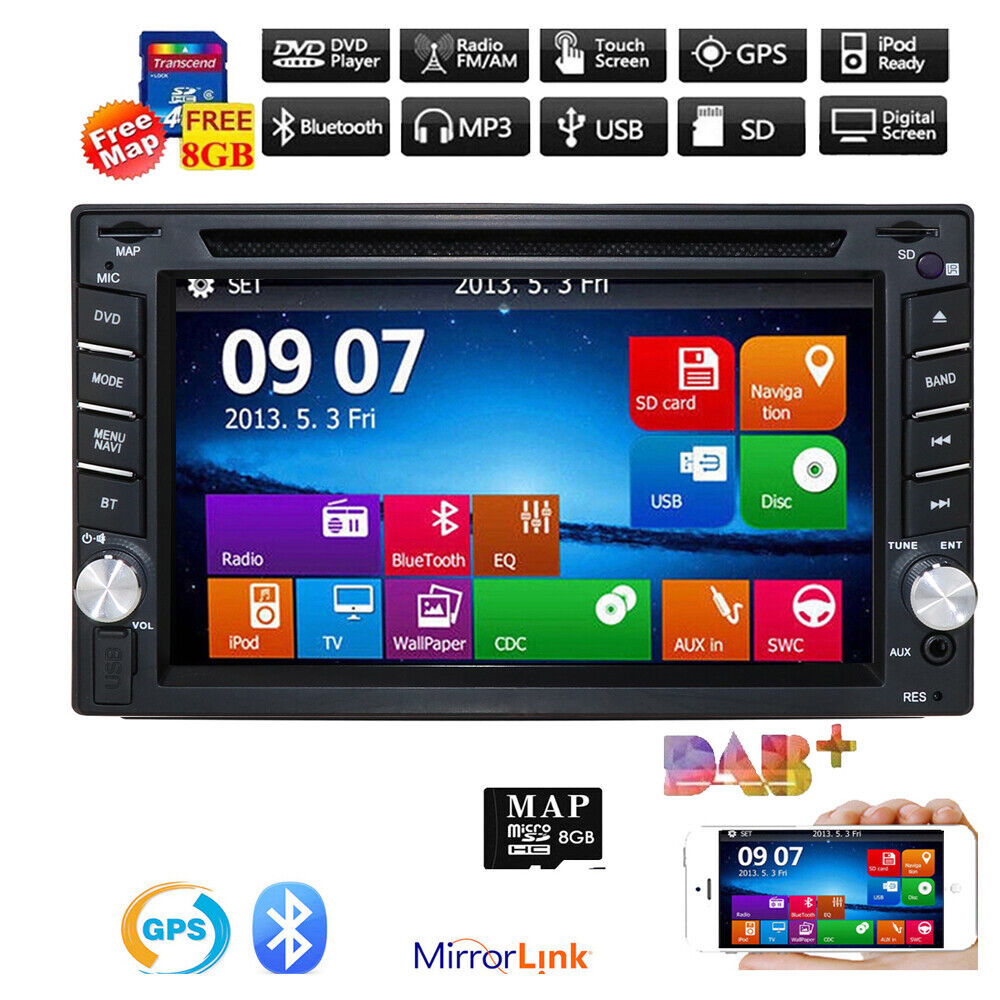 hizpo gps navigation hd double din car stereo dvd player. Black Bedroom Furniture Sets. Home Design Ideas