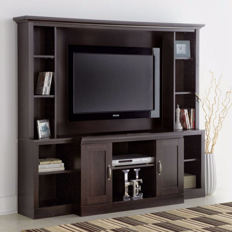 Large entertainment center tv stand media console for Tv media storage cabinet