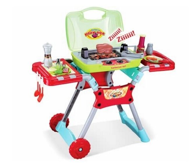 Kitchen Set With Light And Sound: Deluxe Kids Kitchen BBQ Pretend Play Grill Set Wit Light