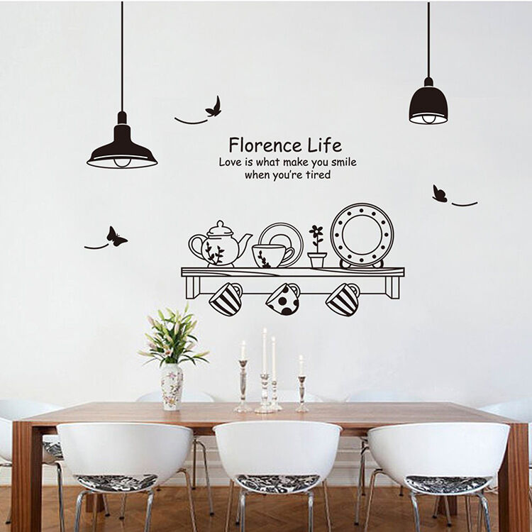 Removable art vinyl kitchen style diy wall sticker decal - Stickers salle a manger ...
