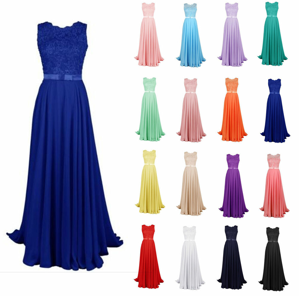 New long lace bridesmaid formal ball gown party cocktail for Ebay wedding bridesmaid dresses