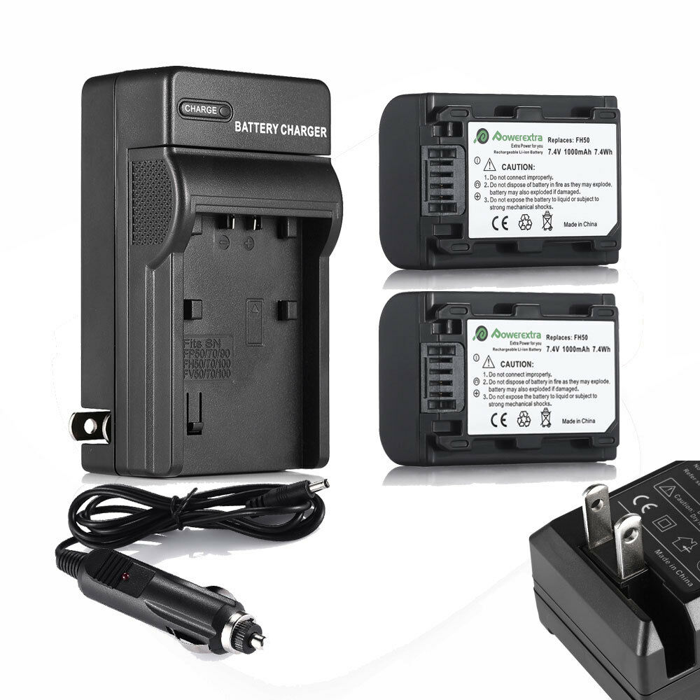 Two Battery Charger For Sony Np Fh50 Fh30 Fh40 Dcr Sx45