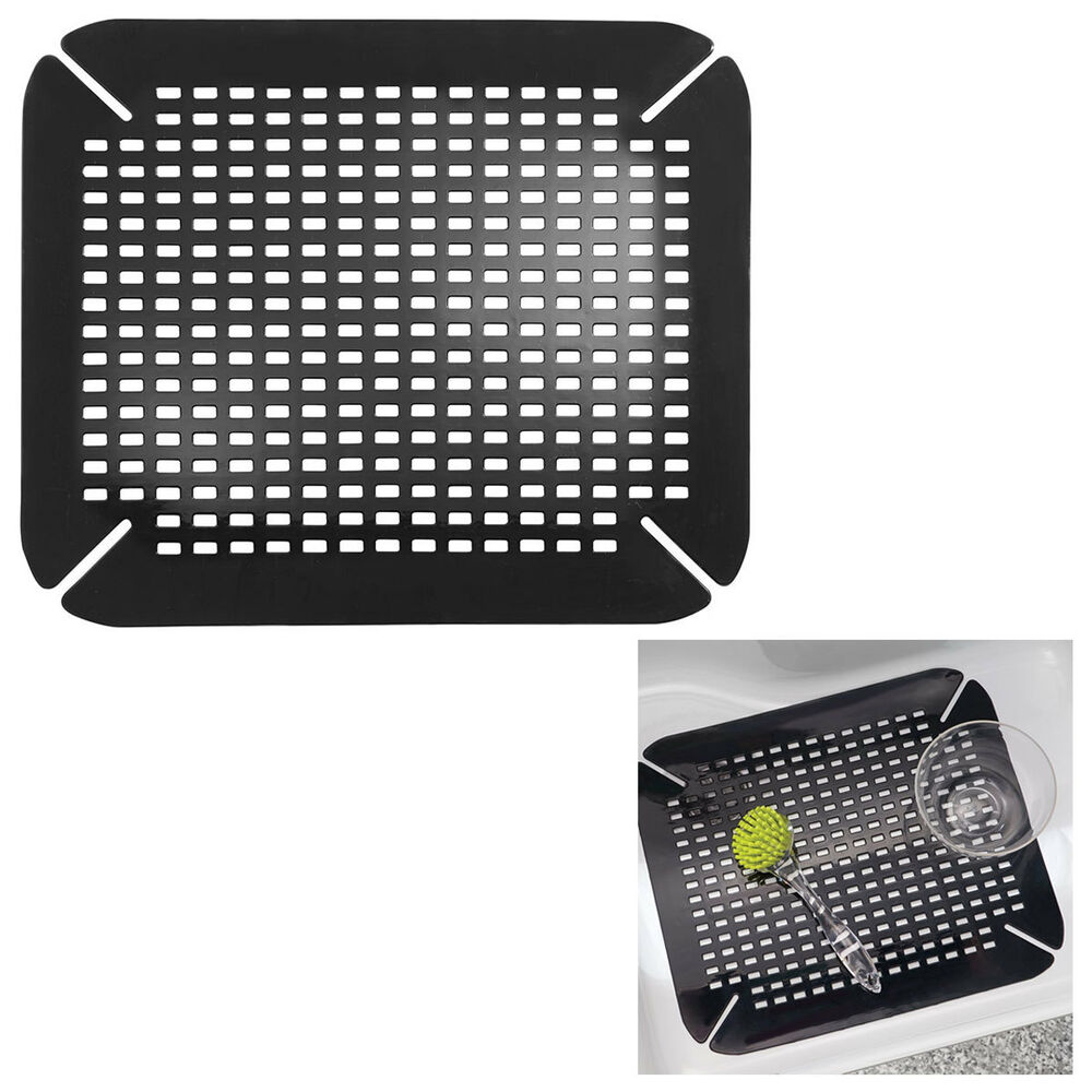 kitchen sink mat adjustable contour size black ebay. Black Bedroom Furniture Sets. Home Design Ideas