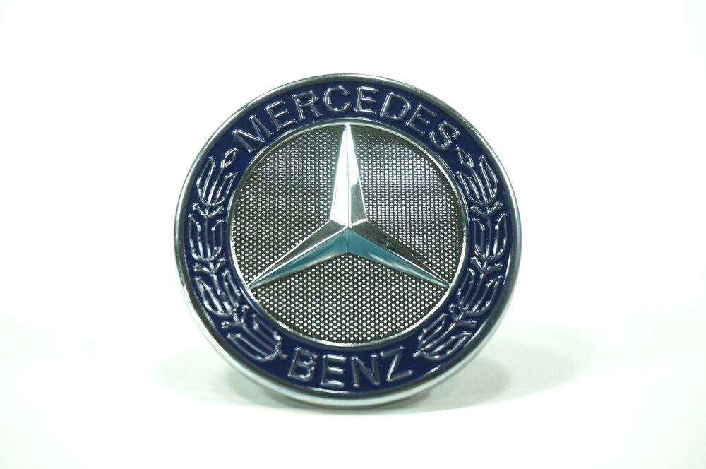 Mercedes benz blue hood ornament cap emblem badge flat for Mercedes benz trunk emblem