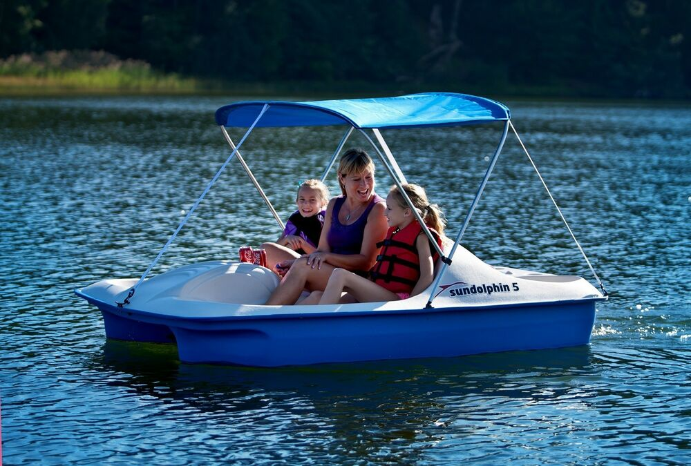 Covered Paddle Boat Pedal 5 Person Canopy Cooler Storage