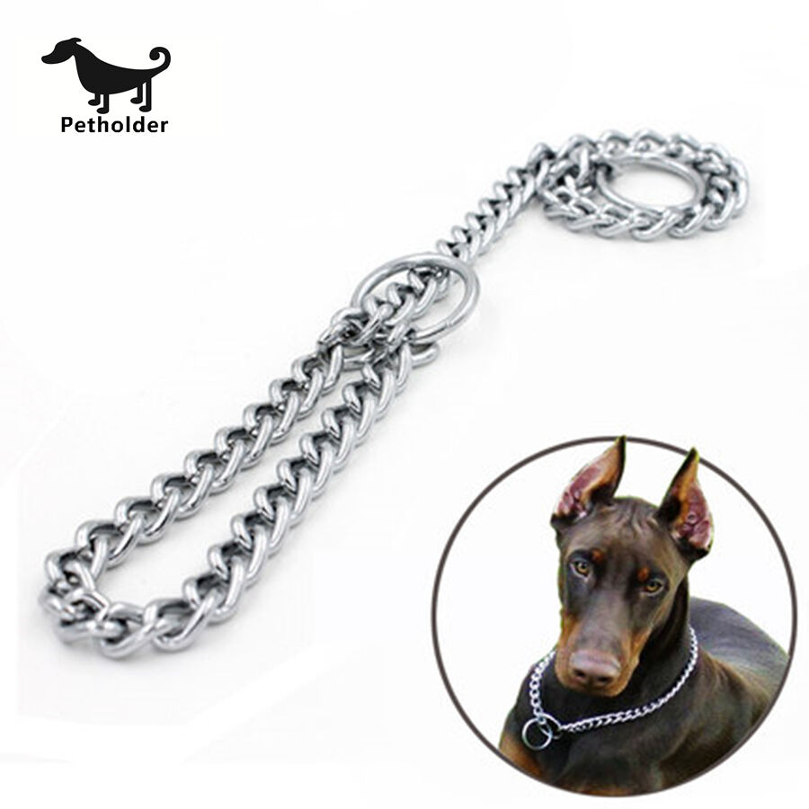 Pet Dog Choke Chain Choker Collar Strong Silver Stainless Steel Training RS
