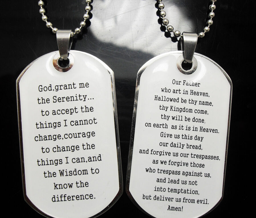 Wholesale 20 Serenity Lord S Prayer Necklace Dog Tag
