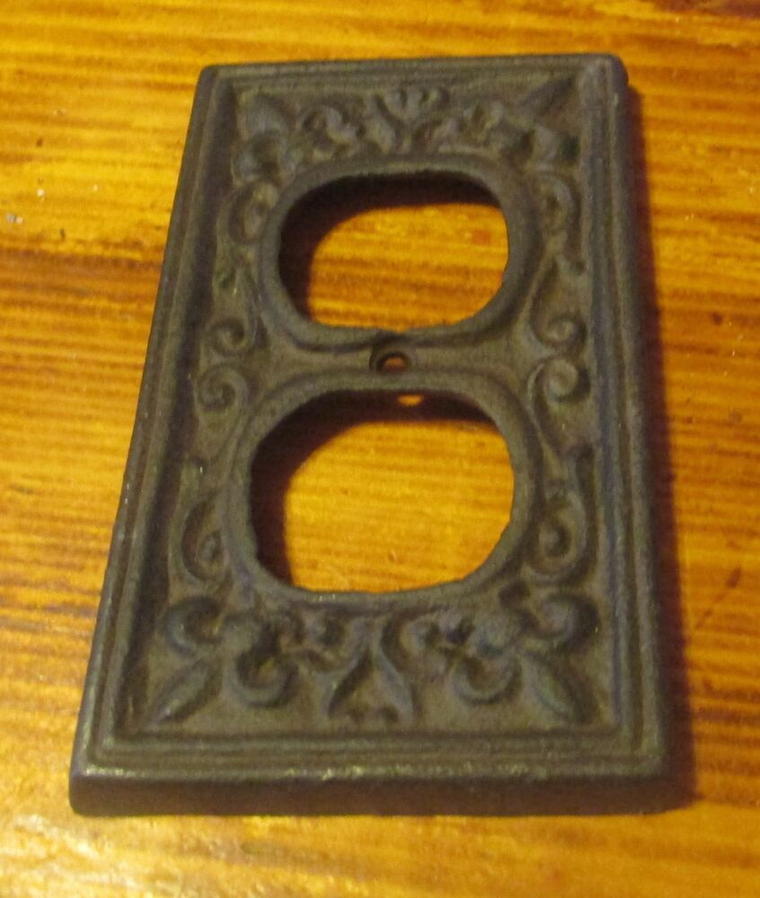 Cast iron electrical plug outlet socket switch plate cover