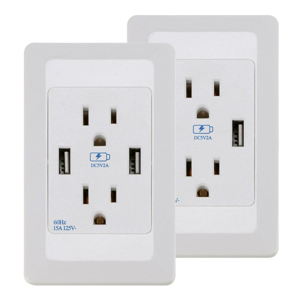 Electrical Wall Outlets : Pcs dual usb port wall socket charger ac power