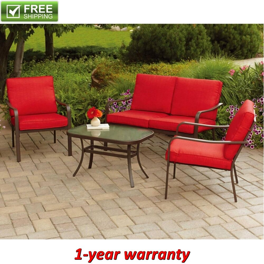Patio conversation set 4 piece red cushioned garden for Outdoor furniture 4 piece