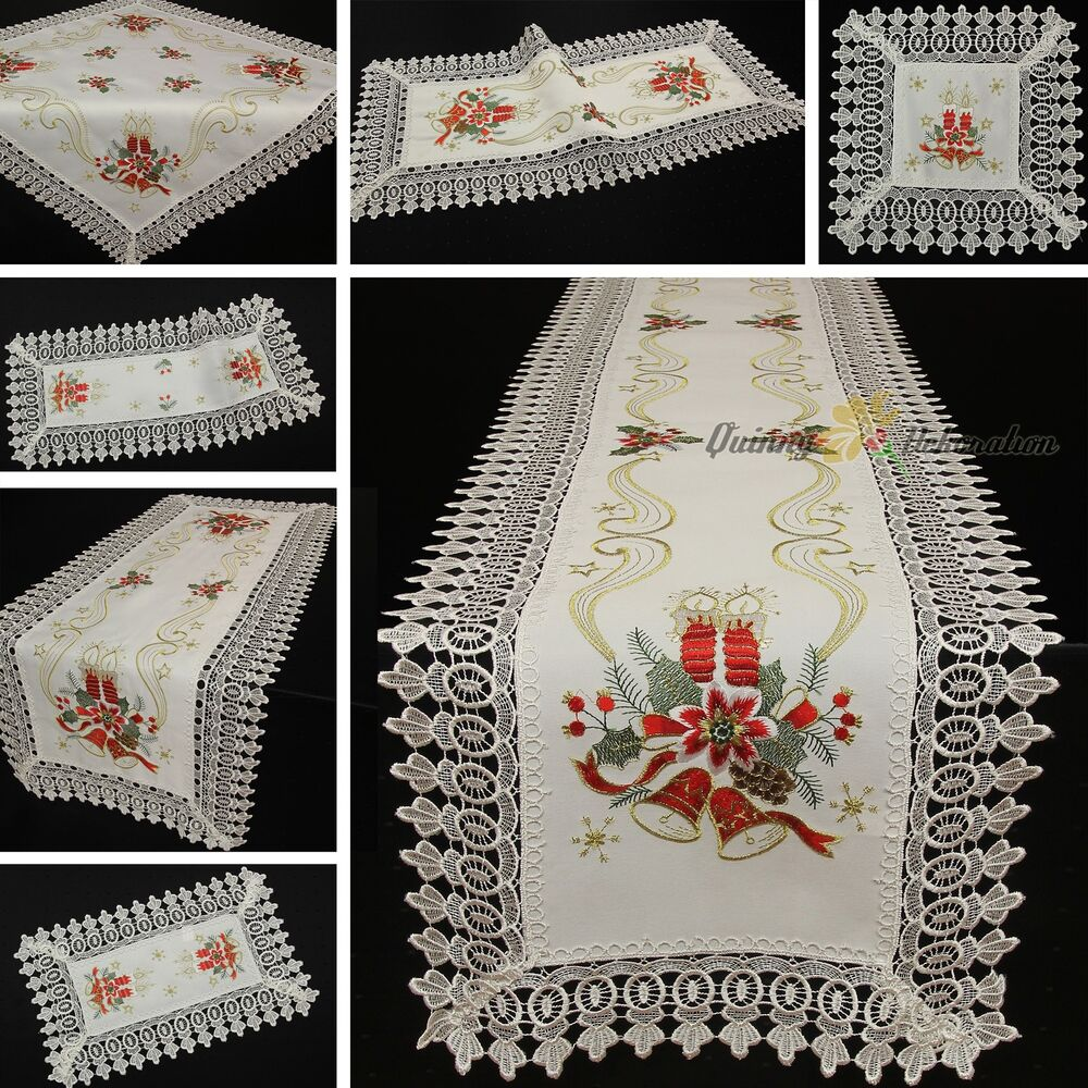 dentelle chemin de table nappe blanc rouge dor no l broderie ebay. Black Bedroom Furniture Sets. Home Design Ideas