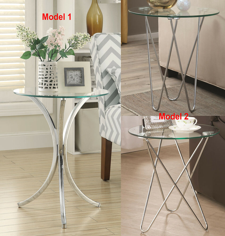 Round Coffee Table Chrome Finish: Round Accent Chair Sofa Side Table W/ Tempered Glass Top