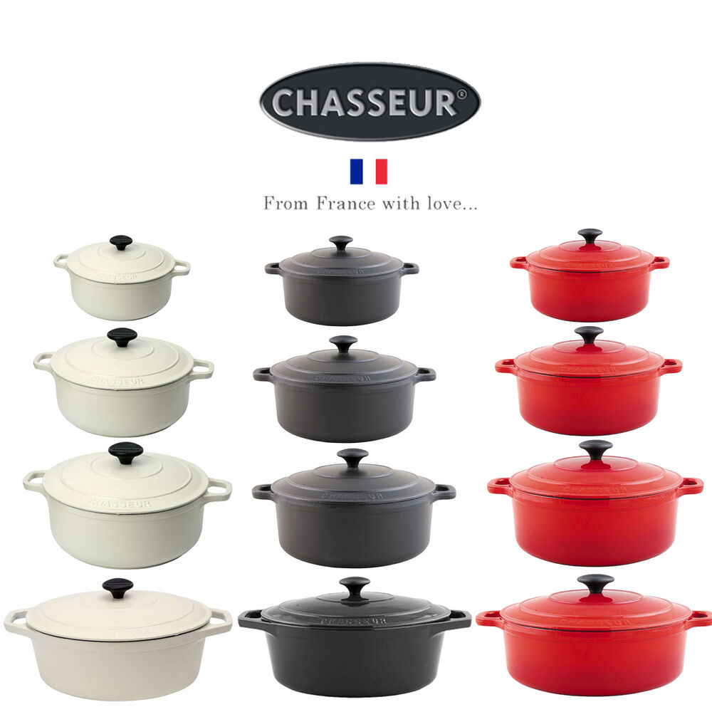 Chasseur Round Oval Cast Iron Casserole Cooking Pot Oven
