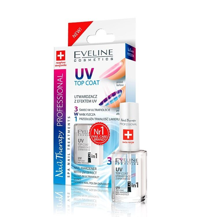 Professional Nail Hardener: Eveline Cosmetics Top Coat UV Nail Hardener With UV Effect