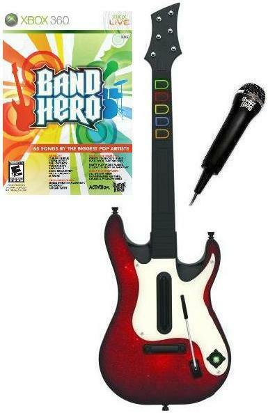 new xbox 360 guitar hero 5 wireless guitar band hero game mic bundle rare ebay. Black Bedroom Furniture Sets. Home Design Ideas