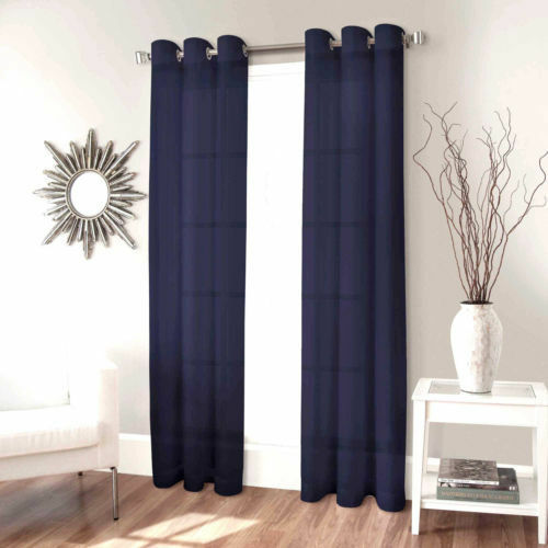1 Faux Silk Window Panel Semi Sheer Curtain Drape Grommet