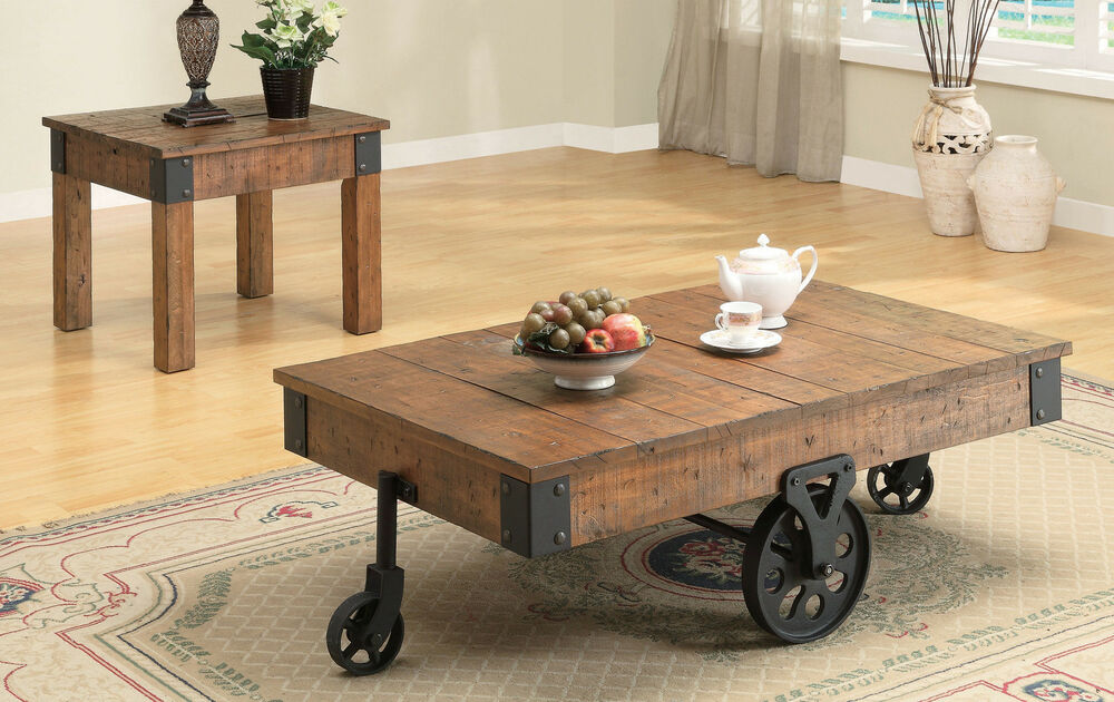 Cottage Rustic Distressed Brown Wagon Accent End Table Or Coffee Table W Wheels Ebay