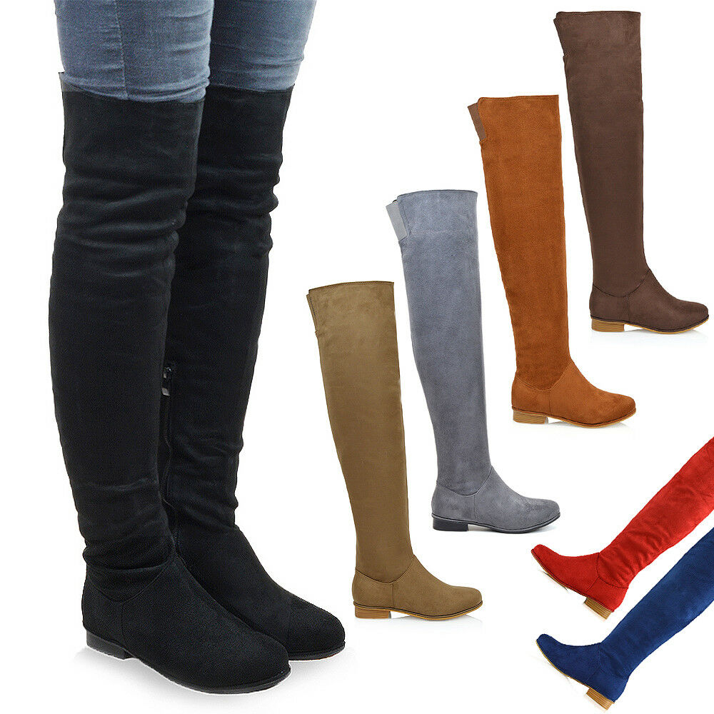 Womens Over The Knee High Flat Ladies Long Faux Suede Thigh High Boots Size 3-8  Ebay-5342