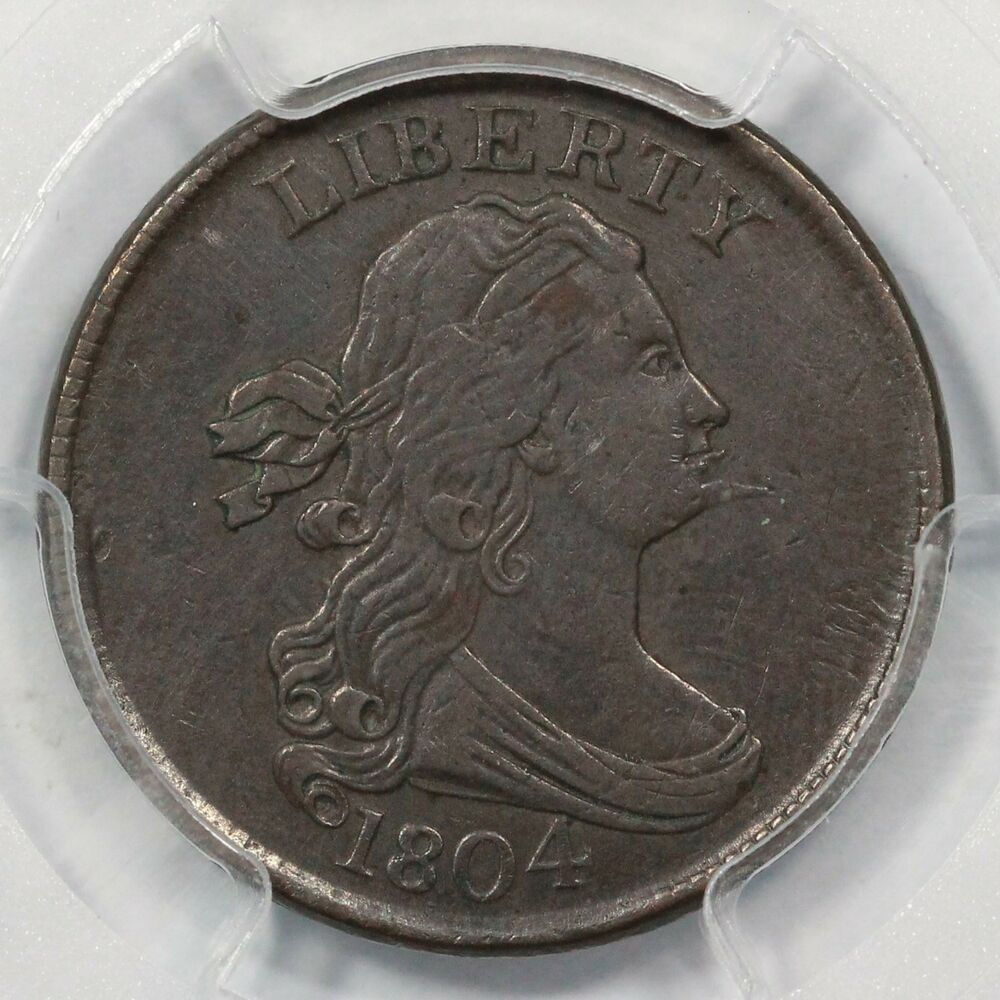 1804 C-5 PCGS AU 50 Spiked Chin Draped Bust Half Cent Coin ...