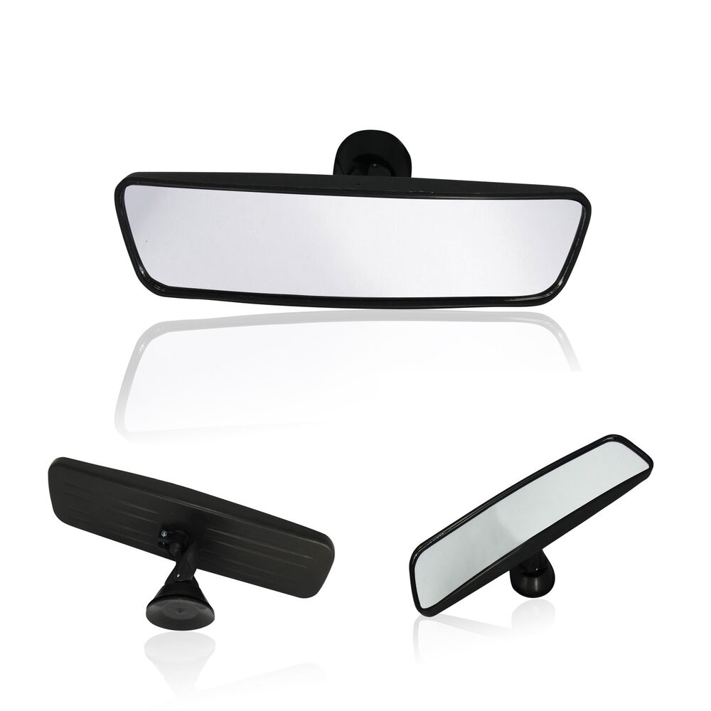 interior any car wide rear view mirror adjustable suction cup windscreen 25cm ebay. Black Bedroom Furniture Sets. Home Design Ideas