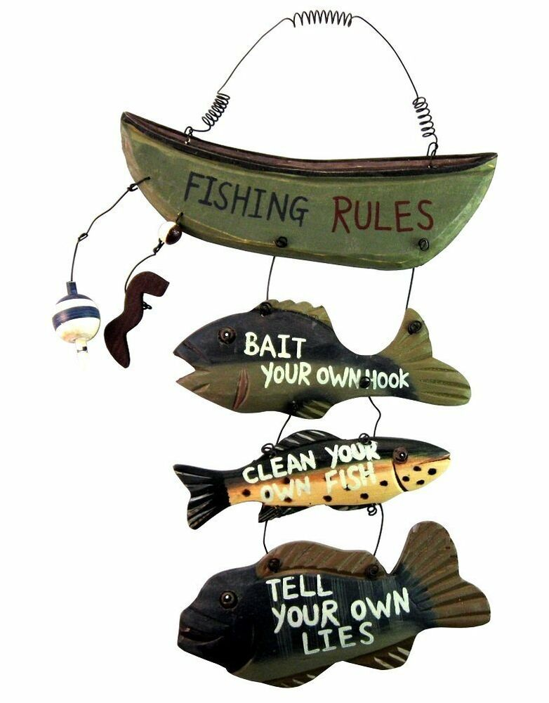 Wood fishing rules sign fish boat nautical home garage for Fisherman home decor