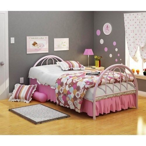 Twin size girl 39 s bed frame metal bedroom furniture toddler for Twin size childrens bed frames