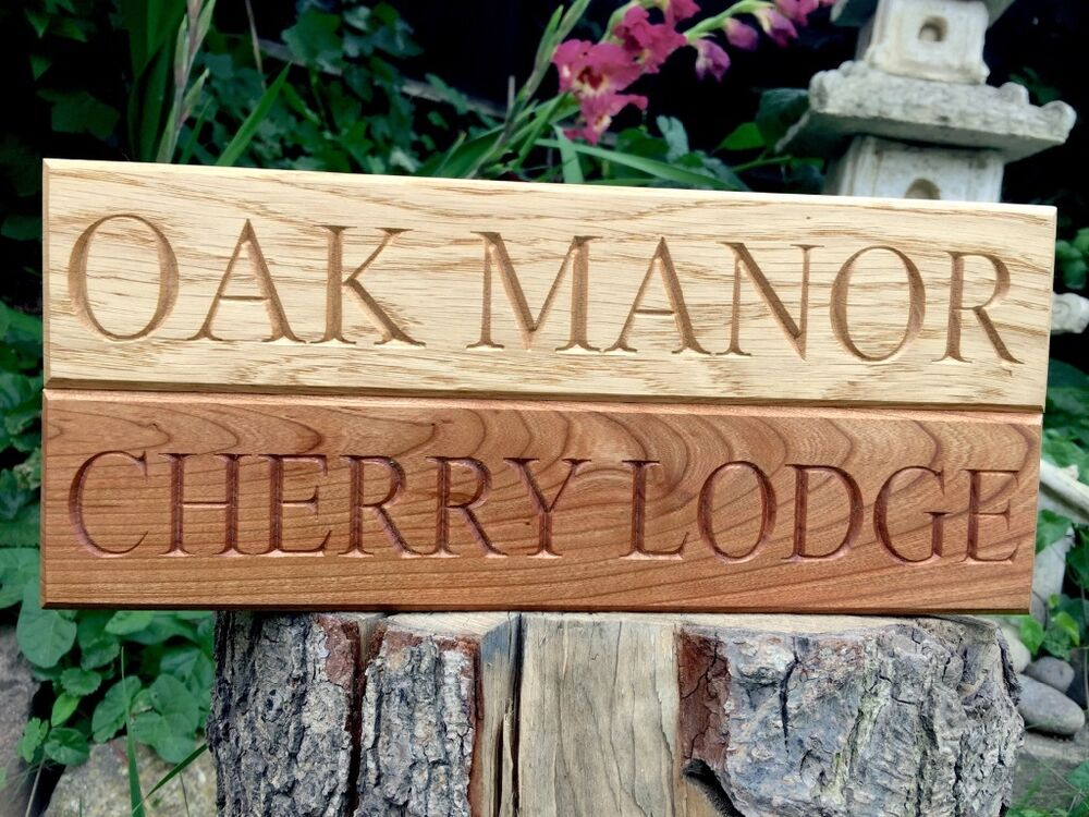 Oak house sign personalised carved custom engraved - Wooden door signs for home ...