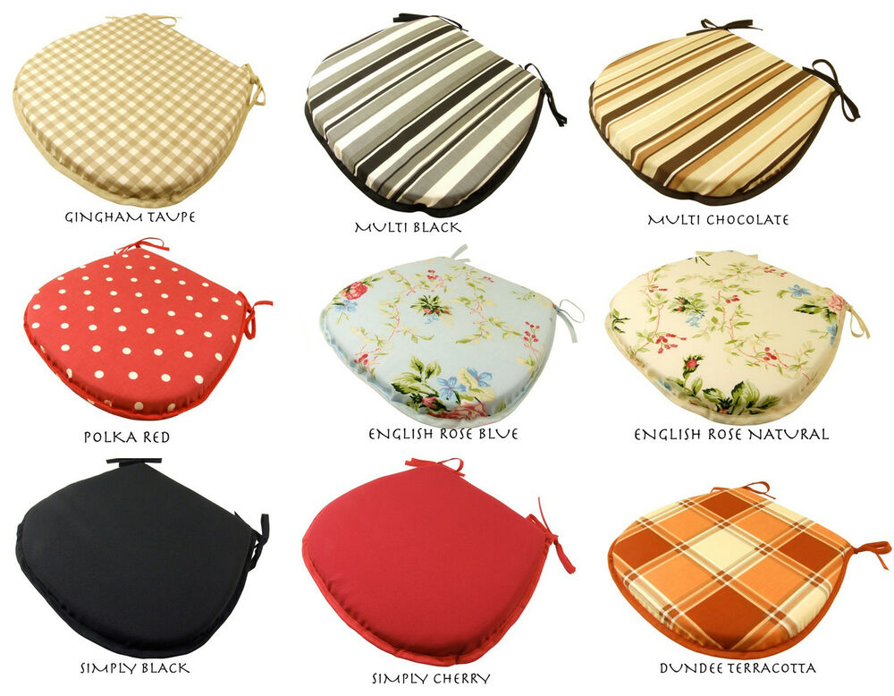 D SHAPED DINING CHAIR SEAT PADS CUSHIONS   GARDEN KITCHEN   TIE ON U0026 CHEAP