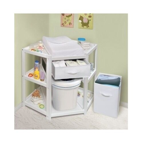 Corner Changing Table Baby Diaper Station With Hamper