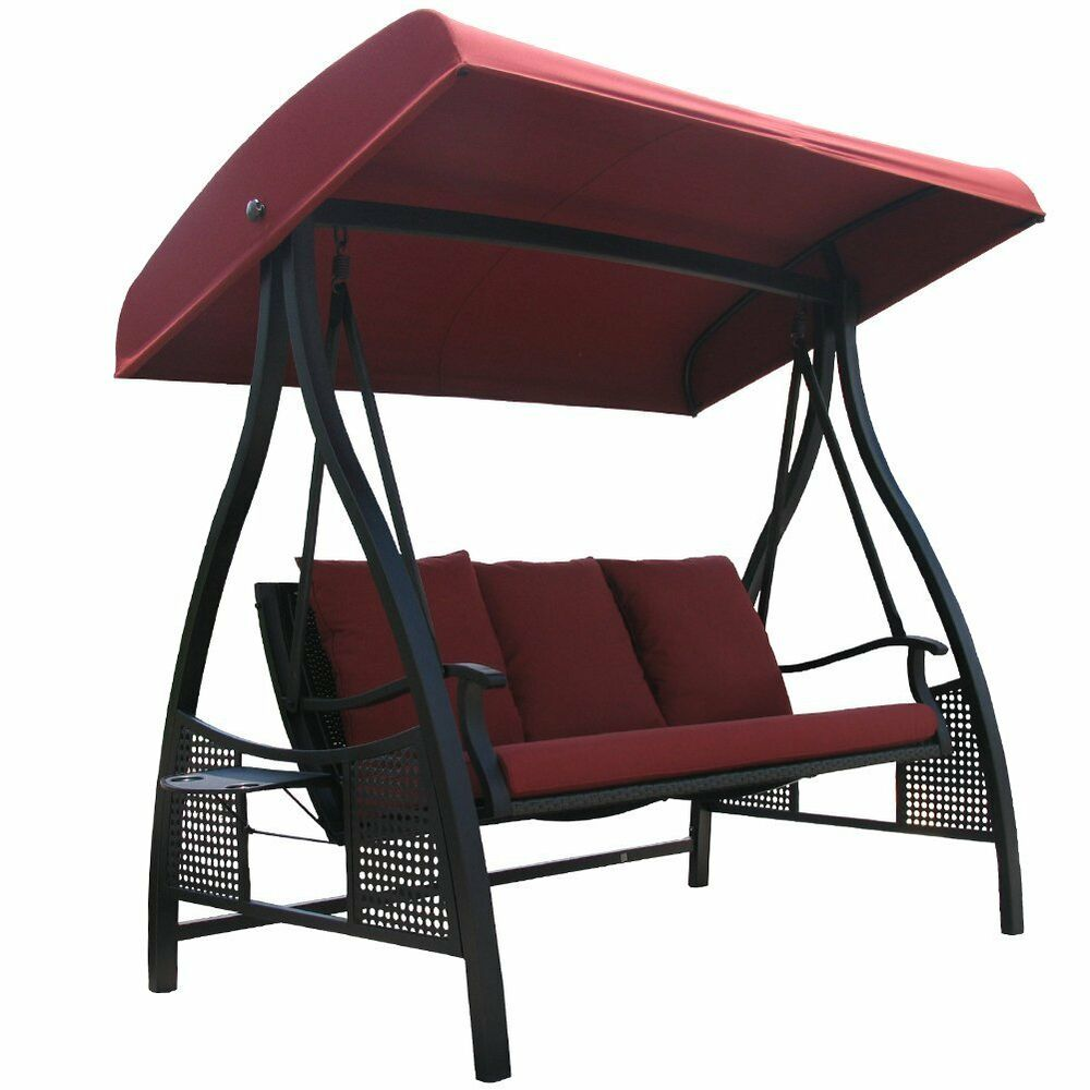 abba patio 3 seat steel frame outdoor swing with adjustable canopy red ebay. Black Bedroom Furniture Sets. Home Design Ideas