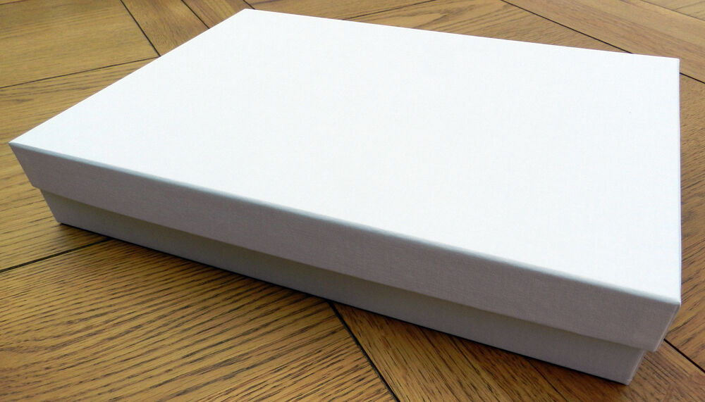 A4 Gift Box Any Occasion Plain White Linen with Lid 305x215x50 Sturdy ...