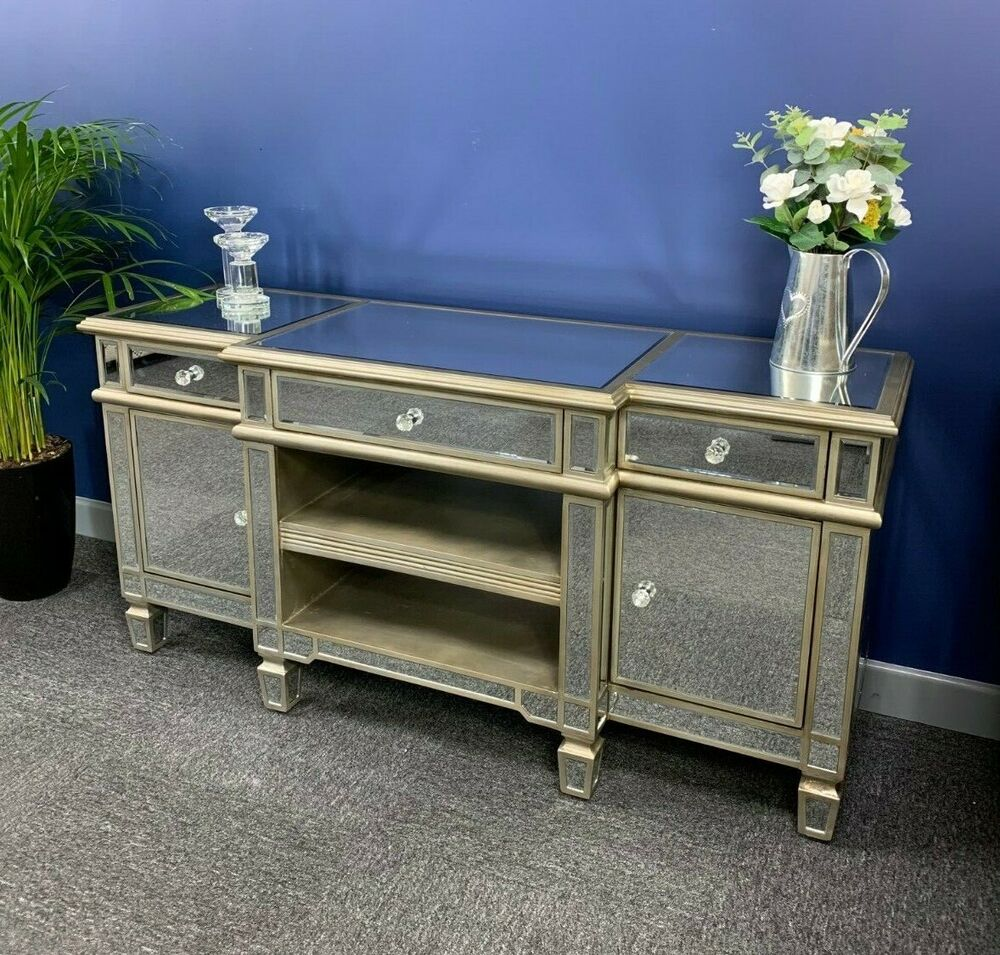 large silver venetian mirrored glass 2 drawer widescreen tv unit stand cabinet ebay. Black Bedroom Furniture Sets. Home Design Ideas