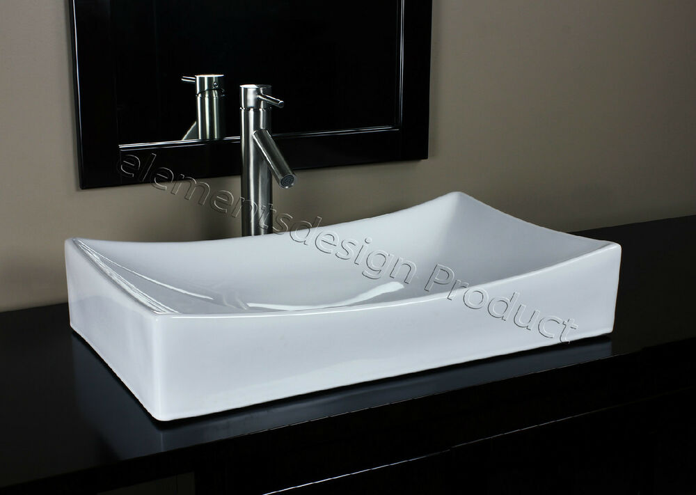 bathroom white ceramic porcelain vessel sink brush nickel 20030