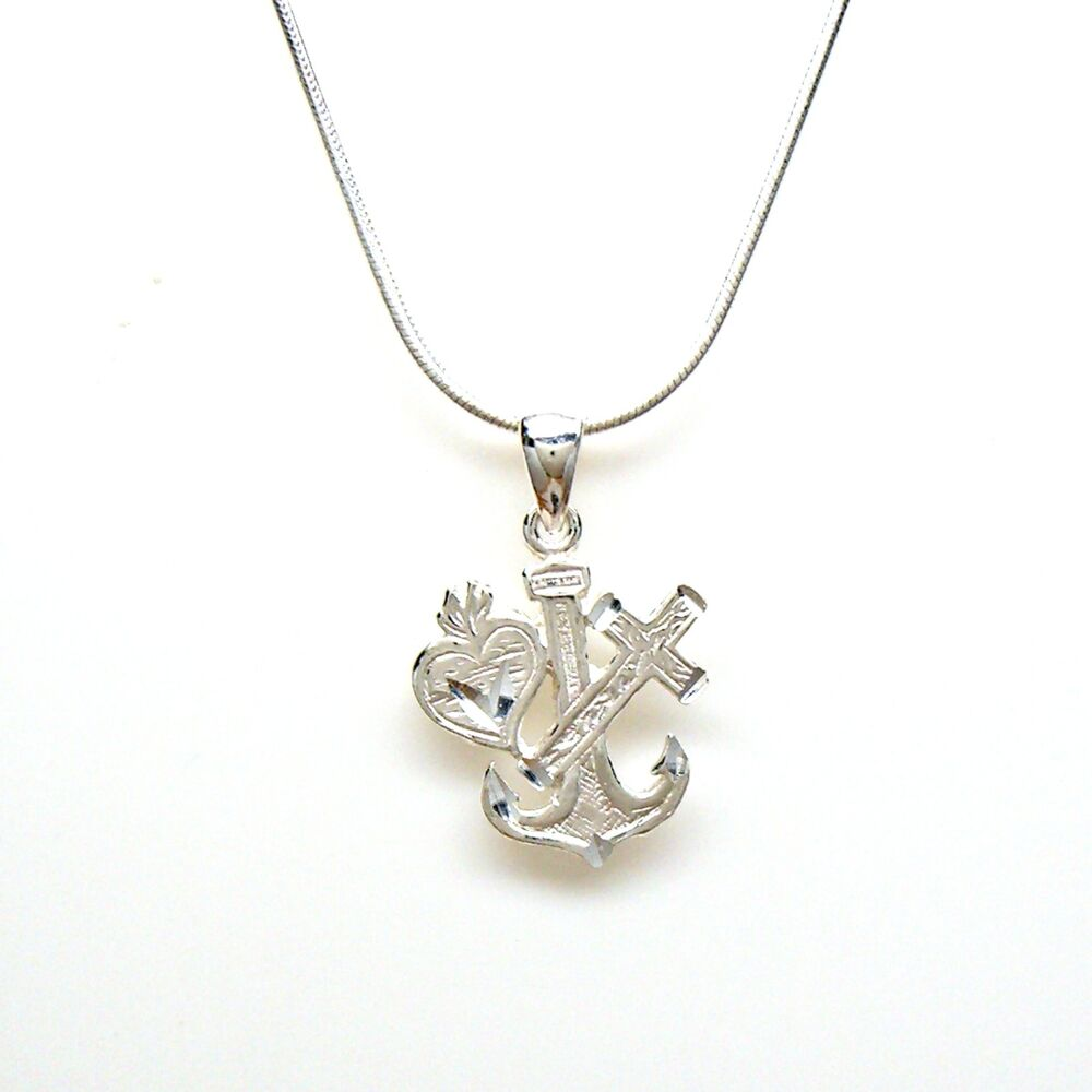 Love faith hope anchor 925 sterling silver necklace chain for Faith hope love jewelry