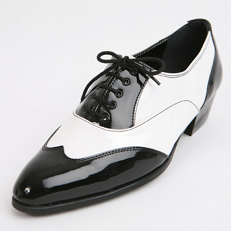 Mens Glossy Black & White Lace Up Wing Tips Mono Tone